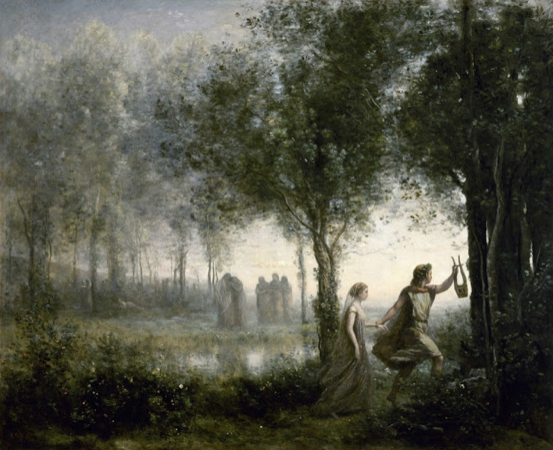 Orfeo sacando a Eurídice del inframundo, de Jean-Baptiste-Camille Corot (1861). Houston, Museum of Fine Arts.